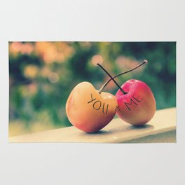You & Me (Rainier Cherries with Green Bokeh Background) Rug
