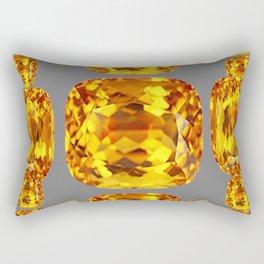 NOVEMBER GOLDEN TOPAZ FACETED GEMS GREY ART Rectangular Pillow