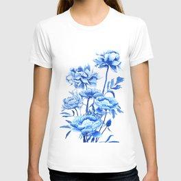 blue peonies T-shirt