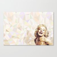 low poly Canvas Prints featuring Marilyn low poly by Pinkpulp