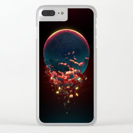 Shattered Moon Clear iPhone Case
