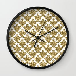 Faux White and Gold Glitter Small Damask Wall Clock