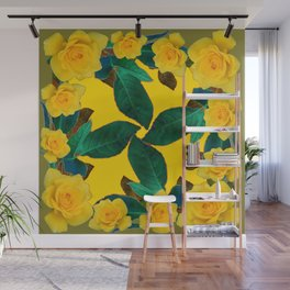GREEN LEAF ART & YELLOW ROSE FLOWERS  DESIGN Wall Mural