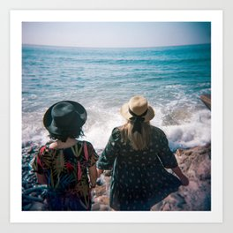 """Sisters on the Shoreline"" Holga color photograph Art Print"