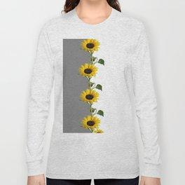 LINEAR YELLOW SUNFLOWERS GREY & WHITE ART Long Sleeve T-shirt