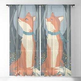 Fox Print, Woodlands Nursery Decor, Fox wall art, woodland print, Animals Print, forest print Sheer Curtain