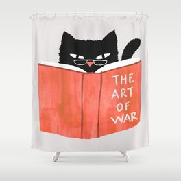 Cat reading book Shower Curtain