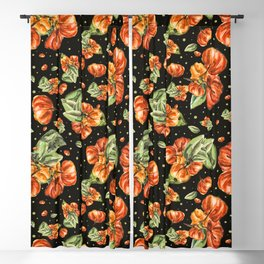 Tropical fruit - Pitanga - Cheerful orange and mint green and dark background Blackout Curtain