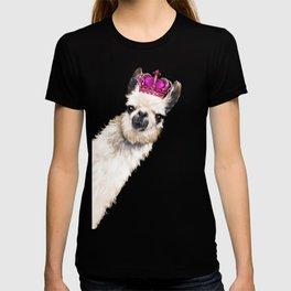 Llama Queen in Pink T-shirt