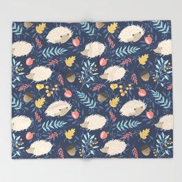 White hedgehogs Throw Blanket