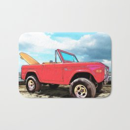 Surf Bronco Beyond the 4 Wheel Drive Only Sign Padre Island Bath Mat