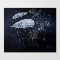 whales Canvas Prints featuring whales by Bunny Noir
