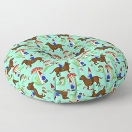 Gnome & Dachshund in Mushroom Land, Teal Background Floor Pillow