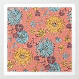 Multi-Florals Coral, Yellow & Blue Art Print