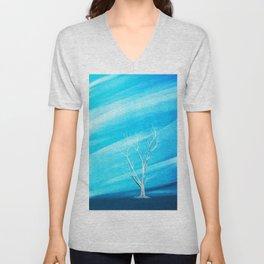 Big white leafless tree blue background Unisex V-Neck