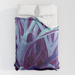 Exotic, Lush Purple and Sky-Blue Leaves Comforters