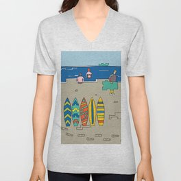 Afternoon at the beach (b) Unisex V-Neck