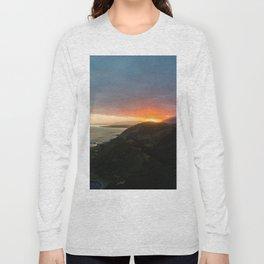 sunset over kaikoura mountains cloud carpet colors Long Sleeve T-shirt