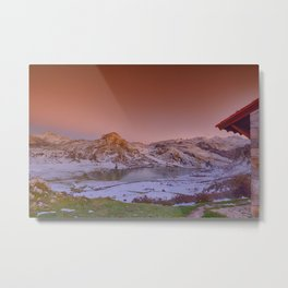 Panoramic view of Lake Ercina with snow in Asturias, Spain. Metal Print