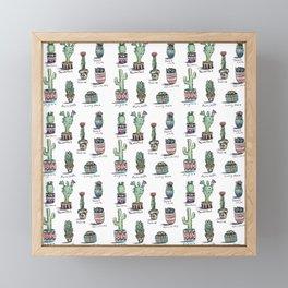 Cactus and Succulent Pattern Framed Mini Art Print