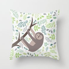 Happy Sloth with Leaves Illsutration Throw Pillow