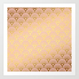 Gold and pink sparkling Mermaid pattern Art Print