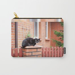lonely stray black cat sitting Carry-All Pouch