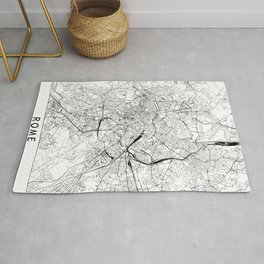 Rome White Map Rug