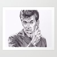 david tennant Art Prints featuring David Tennant as Doctor Who by Kate Murray