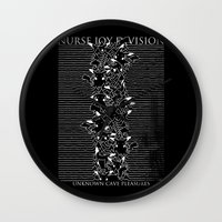 joy division Wall Clocks featuring Nurse Joy Division by Tobe Fonseca