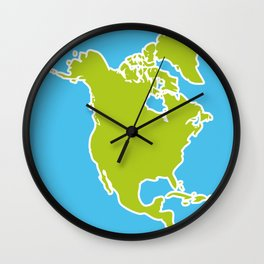 North America Map Green continent on blue background. Vector illustration Wall Clock