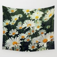 daisies Wall Tapestries featuring Daisies by KunstFabrik_StaticMovement Manu Jobst