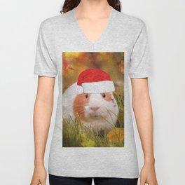 Cute Christmas Guinea Pig Unisex V-Neck