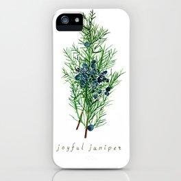 Joyful Juniper Plant Watercolor Painting Illustration iPhone Case