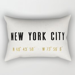 Vintage New York City Gold Foil Location Coordinates with map Rectangular Pillow