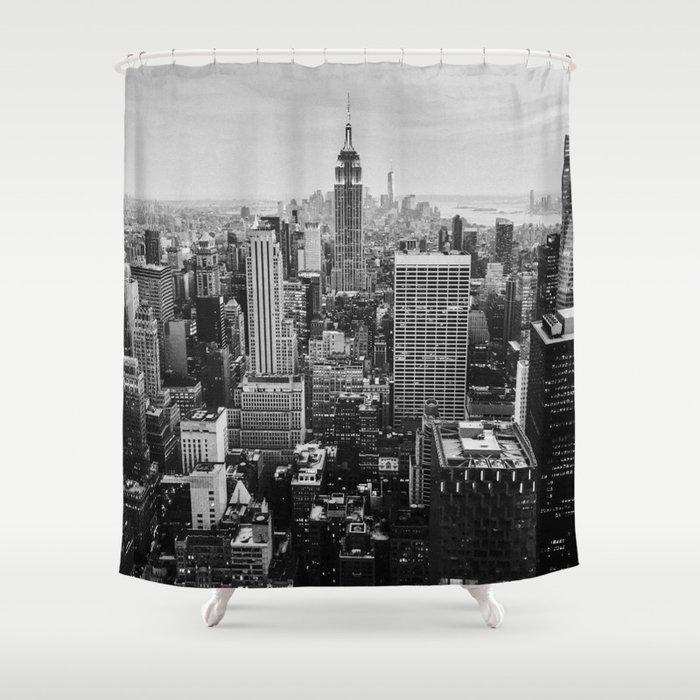 Black White NYC Skyline Shower Curtain