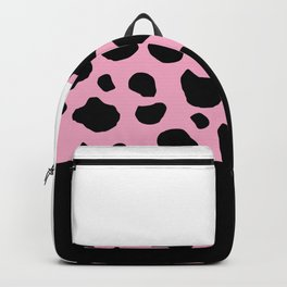 Animal Print, Cow, Stripes - Pink Black White Backpack