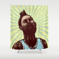 hero Shower Curtains featuring hero by jenapaul