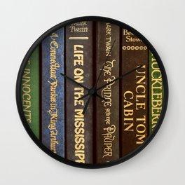 Old Books - Square Twain Wall Clock