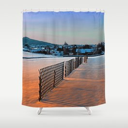 Fences, evening sun and the village | landscape photography Shower Curtain