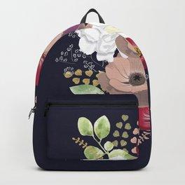 Anemones & Gardenia deep blue bouquet Backpack