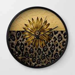 Animal Print Brown and Gold Animal Medallion Wall Clock