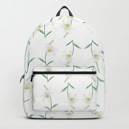 white lily watercolor Backpack