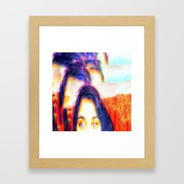 Purple hair and eyes Framed Art Print