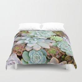 Pastel Succulent Garden Duvet Cover