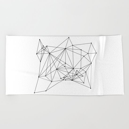 White Geometric Dots and Lines Beach Towel