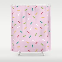 donut Shower Curtains featuring Donut by According to Panda