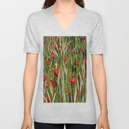 Red Poppies In A Cornfield Unisex V-Neck