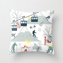 SKI LIFTS Throw Pillow