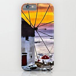 Sunset at Mykonos Windmills iPhone Case
